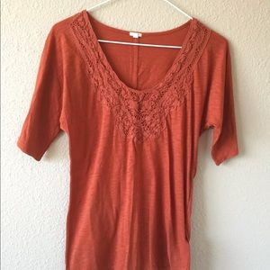 J.Crew XS rust crochet lace knit tee top cotton